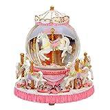 オルゴール クリスタルスノーフレークカルーセルオルゴール、光の装飾とクリエイティブ樹脂オルゴール誕生日バレンタインデーギフト 美しいメロディ (Color : Pink)