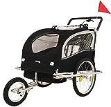 DMS® Fahrradanhänger 2 in 1 Kinderanhänger Fahrrad Anhänger Jogger Radanhänger Kinderwagen Kinderfahrradanhänger für 2 Kinder 5-Punkt Sicherheitsgurt, Radschutz FH-02 (Schwarz)