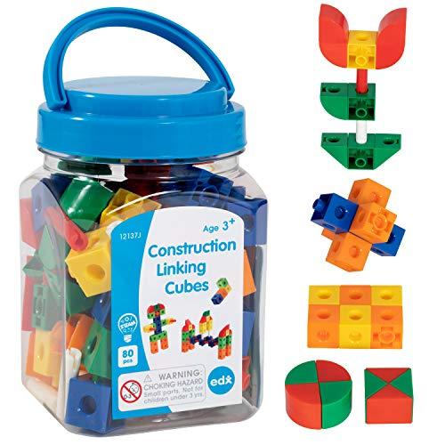 Edx Education Construction Linking Cubes - Mini Jar Set of 80 - Linking Cubes - STEM Play - Math Manipulative for Kids