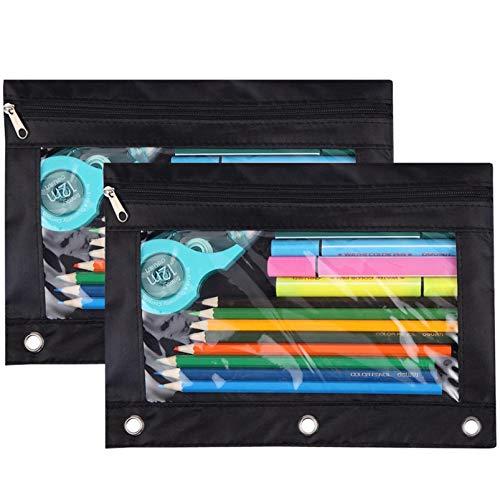 Pencil Pouch 3 Ring, Zipper Pencil Pouches Case Binder Cosmetic Bag Black 2 Pack (Black)