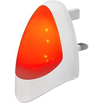 RED Automatic LED Night Light Dusk 2 Dawn LED Sensitive, White, Plug in