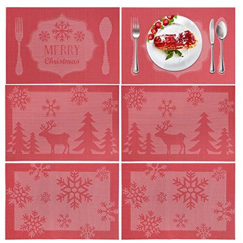 HOWAF 6pcs Rot Weihnachten Tischset für Tischdeko, Abwaschbar wasserdichte Weihnachten Platzset, Abwischbar Platzdeckchen hitzebeständige Tischsets, Frohe Weihnachten Baum Rentier Schneeflocke