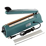 Kseven 8' Heat Impulse Sealer, Hand Portable Table Top Poly Bag Plastic Film Tubing Sealing Machine, Free Element, DURABLE METAL CASE, For Food Industrial Grocery Retail Shop Factory Packaging Use.