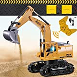 2.4GHz Remote Control Excavator Tractor Toy,1:24 Kids Digger for Boys Girls Toddlers adults,Electric Construction Vehicles Truck with Metal Shovel&Working Lights/Sounds&2Rechargeable Battery (yellow)