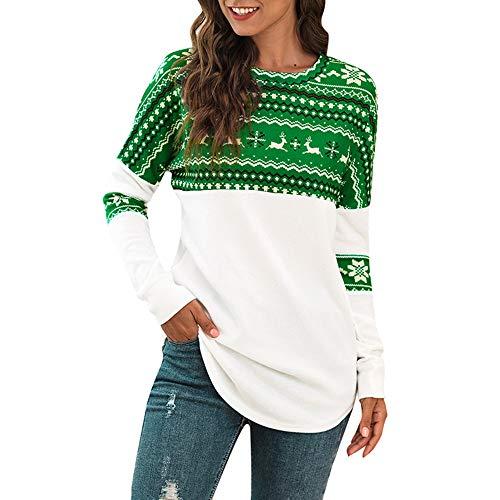 Manooby Sudadera Blusa de Navidad para Mujer Camiseta Tops Pullover Casual de Manga Larga Cuello Redondo para...