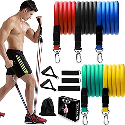 Resistance Bands Set, 11 Piece Exercise Bands with Large Handles, Door Anchor, Out Portable Home Gym Bands Resistance, Suitable for Leg, Arms,Yoga, Gym Training (Stackable Up to 125 lbs)