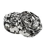 Zeagro Cinta de corcho para manillar de bicicleta de carretera + 2 tapones de barra, color negro y blanco camuflaje