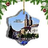 Weekino Suiza Lago de Zúrich Limmat Decoración de Navidad Árbol de Navidad Adorno Colgante Ciudad Viaje Porcelana Colección de Recuerdos 3 Pulgadas
