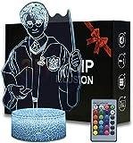 Harry Potter, lampada 3D illusione di Natale, luce notturna da comodino, 16 colori dimmerabile con telecomando Smart Touch, regalo di Natale e compleanno per ragazzi e bambini