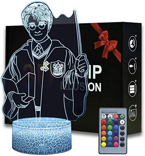 Harry Potter 3D Illusion Lampe LED Nachtlicht, Optische 3D-Illusions-Lampen Tischlampe Nachtlichter16Farben Berührungsschalter Schreibtischlampe USB-Kabel Kinder Nachtlampe