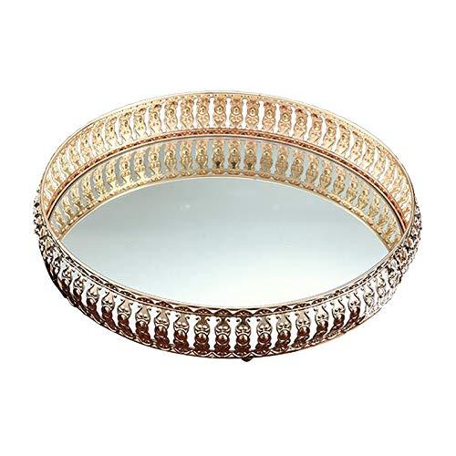 LOVIVER Große Goldene Spiegelschale, Verzierte Dekorative Schale Schmuck, Make Up & Parfüm Organizer Badezimmer Waschtisch, Bar Couchtisch Glasvitrine - 31cm