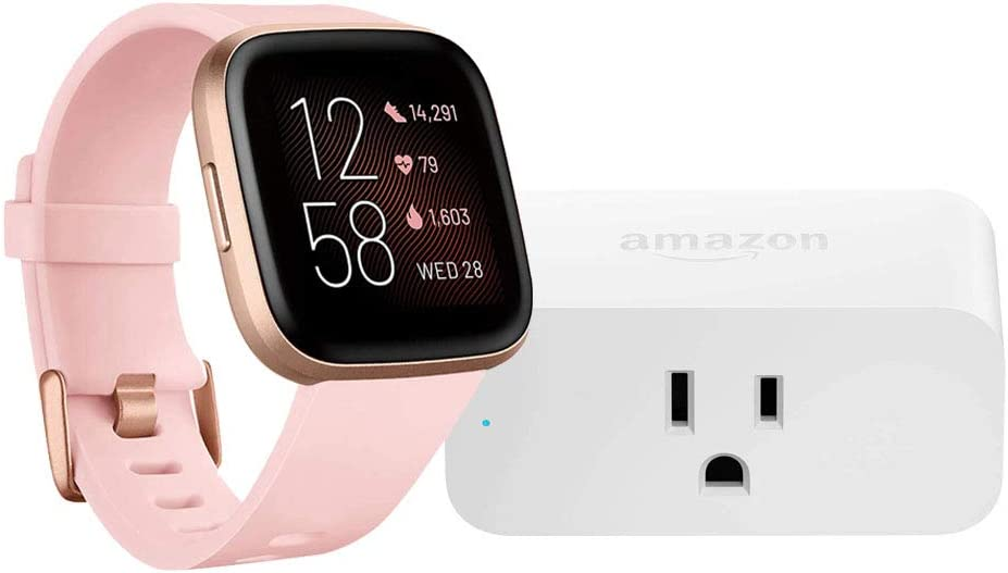 Fitbit Versa 2 Smartwatch (Petal/Copper Rose) with Amazon Smart Plug Bundle