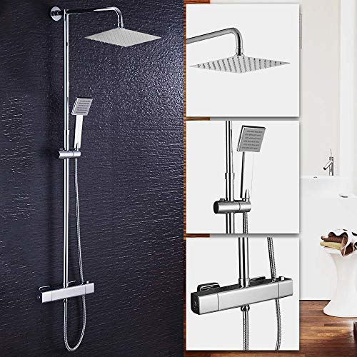 Wall Mount Including Rough-in Mixer Valve and Trim 300mm Rain Shower Head Square /& Handheld Shower Head VADANIA Dual-Functional Shower System