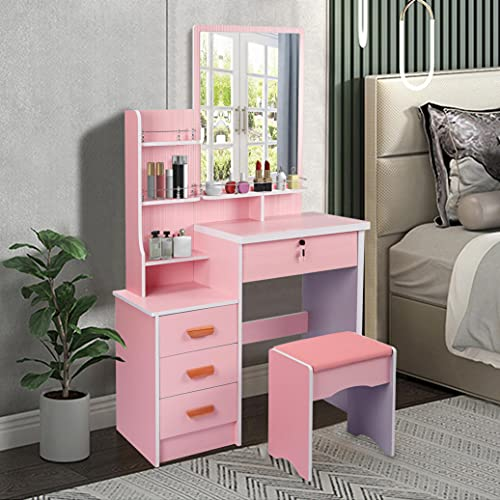 JHDOSD Makeup Vanity Set with Mirror, Dressing Table with 4 Drawers and 3 Shelves, Cushioned Stool (Pink)