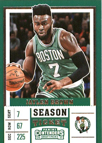 2017-18 Panini Contenders Draft Picks Season Ticket #23 Jaylen Brown Green Jersey Boston Celtics