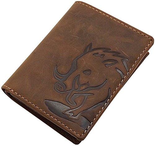 Cuero de búfalo Monedero con jabalí-Motivo en Formato Vertical o Formato oblongo con Bloqueo RFID y NFC en marrón (Modelo 1 / Formato Vertical)