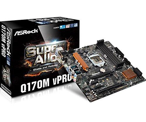 Asrock Q170M VPRO Intel® Q170 LGA 1151 (Buchse H4) Micro ATX Motherboard - Motherboards (DDR4-SDRAM, DIMM, 2133 MHz, Dual, 64 GB, Intel)