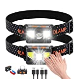 bedee LED Head Torch, [2 Pack] USB Rechargeable Headlamp, Super Bright 1000 Lumens