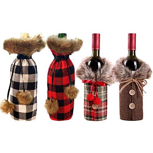 Feelava Weihnachten Weinflasche Abdeckung 4 Stücke Rotwein Taschen für Dress up Weinflasche Wiederverwendbare Wein Geschenk Taschen für Home Dinner Party Dekoration Tischdekoration