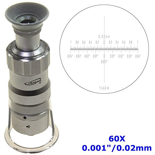 iGaging Measuring Microscope 60X - 0.001'/0.02mm Magnifier Loupe w/Scale Reticle LED Lighted Illuminated
