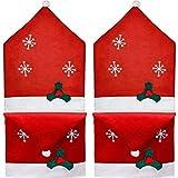Maufy 4 unids/set Navidad silla trasera cubiertas copo de nieve silla sombrero fundas para hogar restaurante hotel vacaciones fiesta fiesta