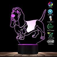 リモコン、バセットハウンドムード照明3D目の錯覚ライトUSBモダンナイトランプ犬動物の光るLEDライト家の装飾パグデスクランプ