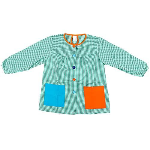 H HANSEL HOME Bata Escolar Infantil Baby Infantil de Cuadros Pequeños (Verde, 8-9 años)