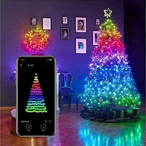 Luz de control remoto, luces de decoración de árboles de Navidad, luces de cadena LED personalizadas, luces de Navidad controladas por aplicaciones inteligentes - para decoración de jardín de árb