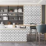 Caltero Black White Brick Contact Paper 17.7' x 32.8Ft WhiteTrellisWallpaper Peel and Stick Subway Tile Effect Brick Wallpaper Waterproof Backsplash Paper Countertop Bathroom Bedroom