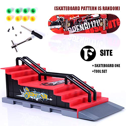 MongKok Kids Finger Skateboard Set Skate Park Ramp Parts Mini Fingerboard Kit Game Props