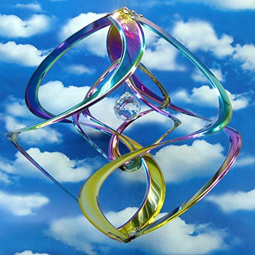 Pommerntraum ®| IRISIERENDES Edelstahlwindspiel mit KRISTALL | Windspiel Edelstahl | Winddancer | Double-Twister | Gartenstecker | Regenbogenfarben | 30 cm