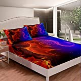 Erosebridal Dragon Bedding Set Nebula Fitted Sheet Full Size Mysterious Outer Space Bed Cover Trippy Bedding Set for Kids Boys Girls Teens Young Man Room Decorative, Blue Red