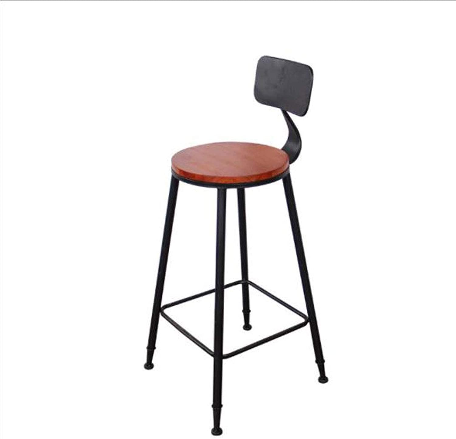 Bar stools Metal Bar Stool Leisure Bar Chair Simple Industrial Wind Wood Bar Chair Round Backrest Height 100cm Height Chair