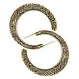 YAZILIND retro media luna tallada aro pendientes mujer Bohemia estilo joyería (oro)