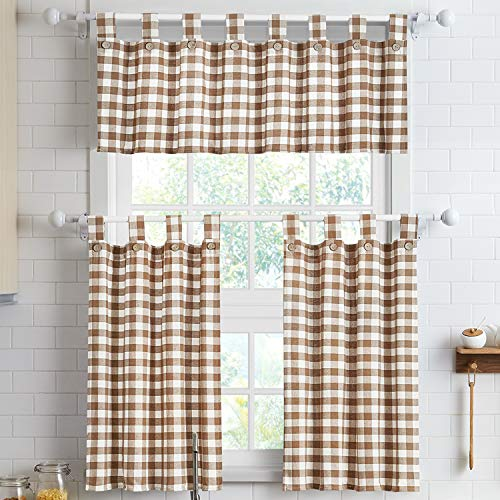 """3 Piece Cotton Kitchen Curtains and Valances Set for Small Windows Short Curtains 36 Inches Length for Cafe Bathroom Tab Top 56"""" x 36"""", Tan/White"""