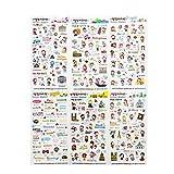 Hosaire Set-6x Dibujos Animados Pegatina Diario Pegatinas DIY Decoración Memo Scrapbooking Notebook Hacer Regalo Decoración para Teléfono Móvil Etiqueta del álbum 21 * 11cm (Expediente de Viaje)
