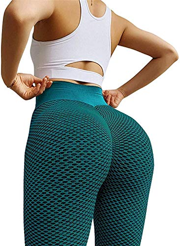 Famous TIK Tok Leggings, Womens Butt Lifting Yoga Pants High Waist Tummy Control Bubble Hip Lift Workout Running Tights Size L Dark Green