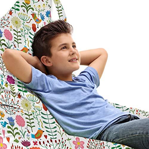ABAKUHAUS Blumen Unicorn Toy Bag Lounger Stuhl, Doodle Wald Habitat, Hochleistungskuscheltieraufbewahrung mit Griff, Mehrfarbig