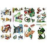 タトゥーシールカラーシール ポケモン Pokémon ヒトカゲ フシギダネ カメックス 8枚セット和柄 本物みたい TATOO 入れ墨シール リアル-手、腕、足、体、胸、肩、背中に簡単貼る 防水 長持ち 和彫り 刺青シール ボディーシール 子供 メンズ レディース