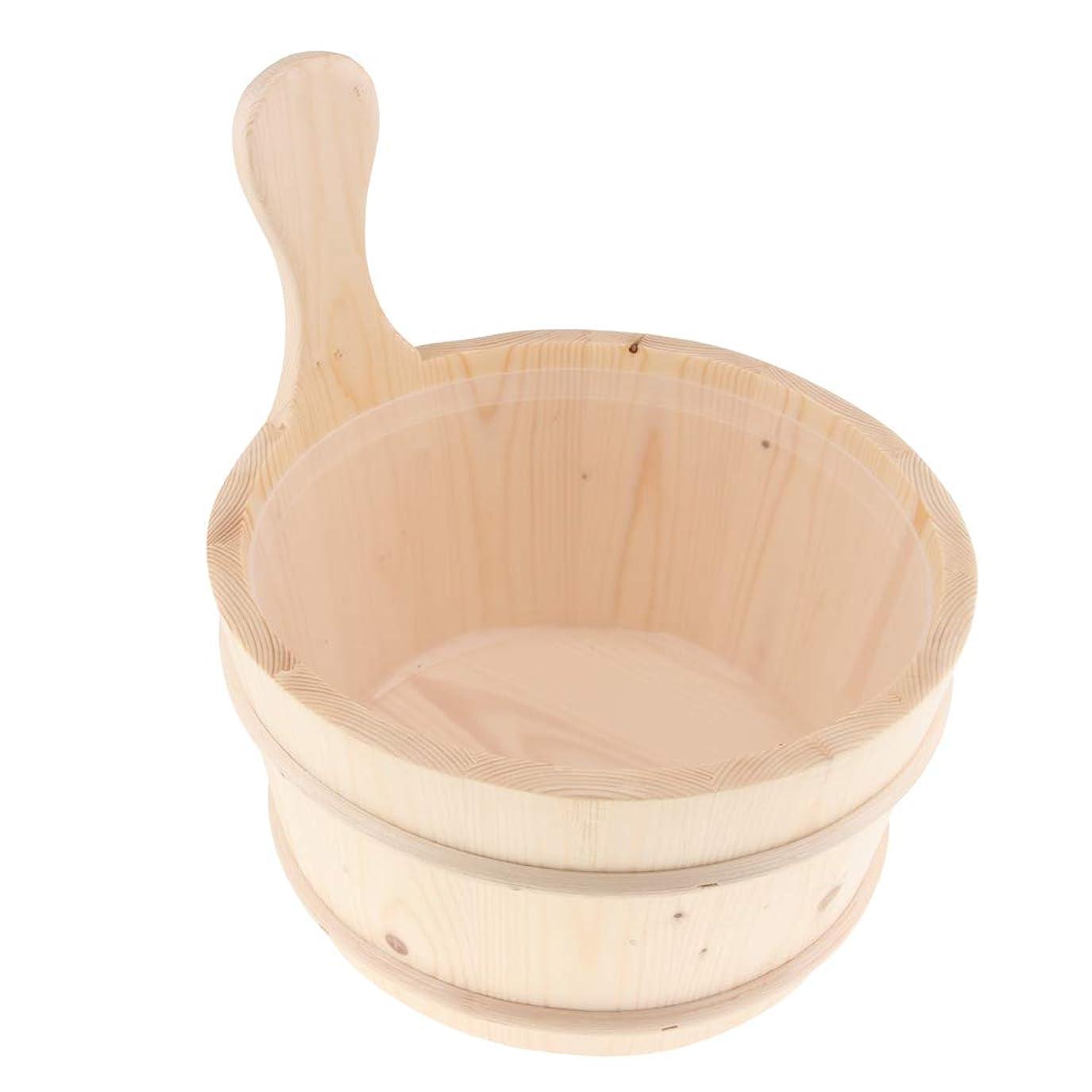 ハードモス反対するサウナ 湯おけ 4L 木製バケツ ハンドル付き