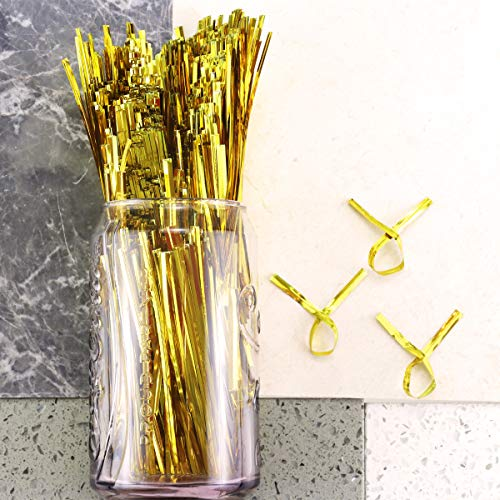 YG_Oline 3200 Pcs 4 Inch Gold Metallic Twist Ties Plastic Cable Ties for Bread Candy Gift Bags