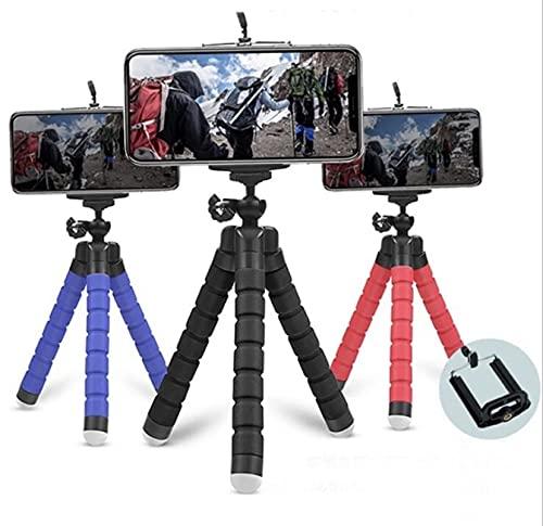 Trípode para móvil Flexible de Colores - Trípode Compatible con Gopro, cámara Deportiva y con Accesorio para móvil - Pulpo para movil (Negro)