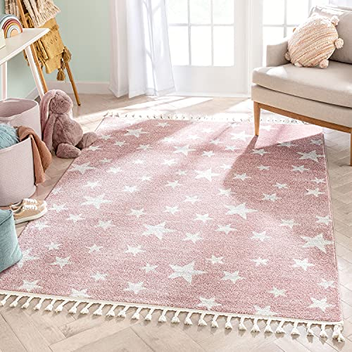 Well Woven Kosme Pink Geometric Star Pattern Stain-Resistant Area Rug 3x5 (3'11' x 5'3')