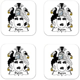 Byron Family Crest Square Coasters Coat of Arms Coasters - Set of 4