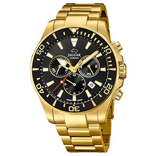 Jaguar Herren-Armbanduhr Chronograph Quarz Swiss Made Stahl vergoldet J864/3