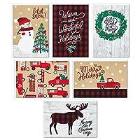 Hallmark ボックス入りクリスマスカード詰め合わせ 素朴なホリデー(6つのデザイン、24枚のカードと封筒付き)