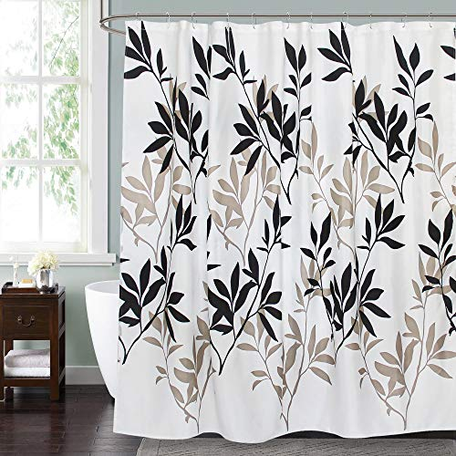 Gibelle Brown and Black Leaf Shower Curtain, Black and White Modern Plant Leaves Shower Curtain, Botanical Decorative Fabric Bathroom Decor with 12 Piece Hooks Set, Standard Size, 72'' x 72''