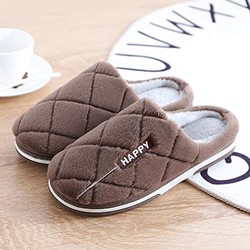 XZDNYDHGX Zapatillas de casa Invierno Suaves para Mujer,Zapatillas cálidas de Colores sólidos para Parejas de Hombres Piso Antideslizante para el hogar, Amantes de Las Parejas Piso Marrón EU 42-43