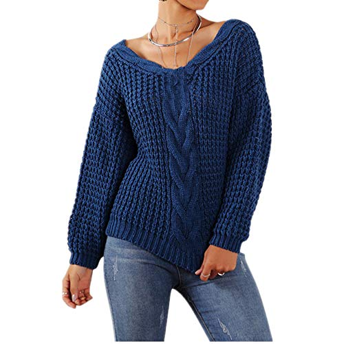 Otoño Invierno Mujer Suéteres Casual Cuello En V Pullovers Sólido Mujer PullCasual Tops Suéter De Punto Jersey