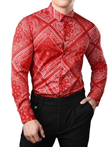 JOGAL Men's Paisley Bandana Print Long Sleeve Button Down Dress Shirts Large Red